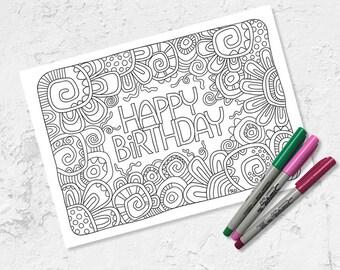 Happy Birthday Colouring Page | Instant Digital Download | Original Doodle Design