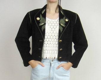 80s FROG POND Set Jacket Top USA Equestrian Gold Tassel Applique Embellish M