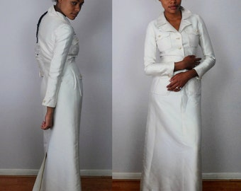 vintage NINA RICCI Boutique //stunning evening bridal taffeta full length gown dress// S M
