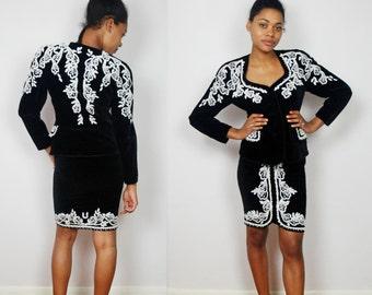 vintage 80's 90's ESCADA black velvet & pearl beads skirt suit XS S