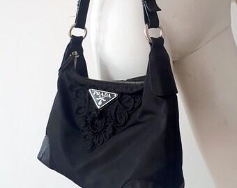 335ae3966004 PRADA Nylon Tessuto Corsace vintage black tote bag