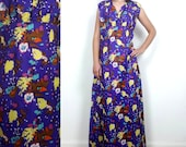vintage 70s Full Length Maxi Floral dress S M