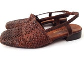 vintage Russel Bromley Woven braided brown leather slingbacks 8.5C