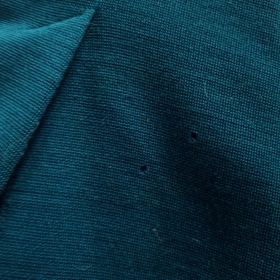 vintage 60s 70s Teal Wool Two Piece Trouser Pant … - image 5