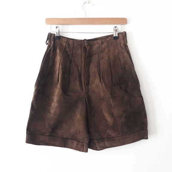 vintage 70s 80s Brown Suede Leather pleated shorts