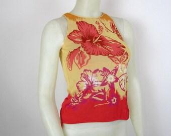 vintage 90s KENZO Paris Floral stretch jersey top Medium