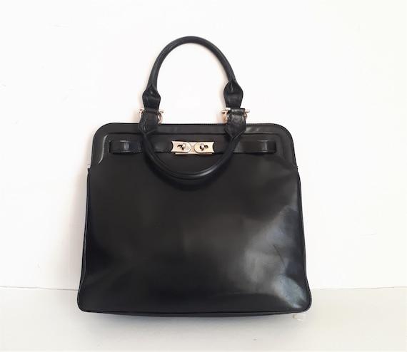 vintage 60s black Smooth leather Kelly top handle