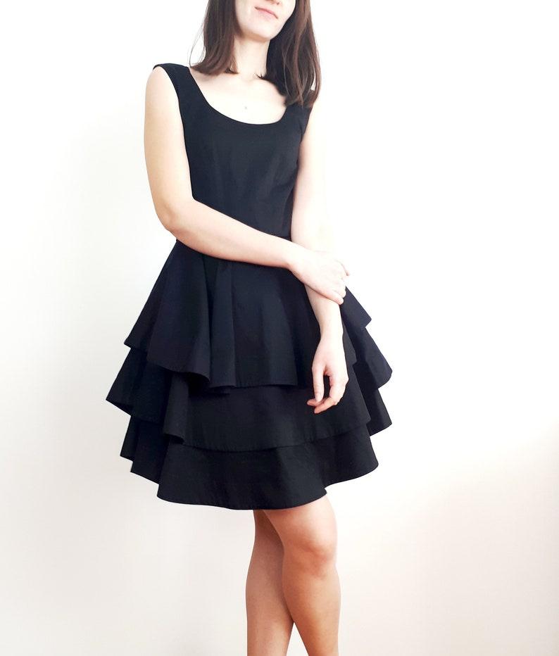 1c063c44bc7e Vtg GUY LAROCHE black layered frill skirt dress S | Etsy