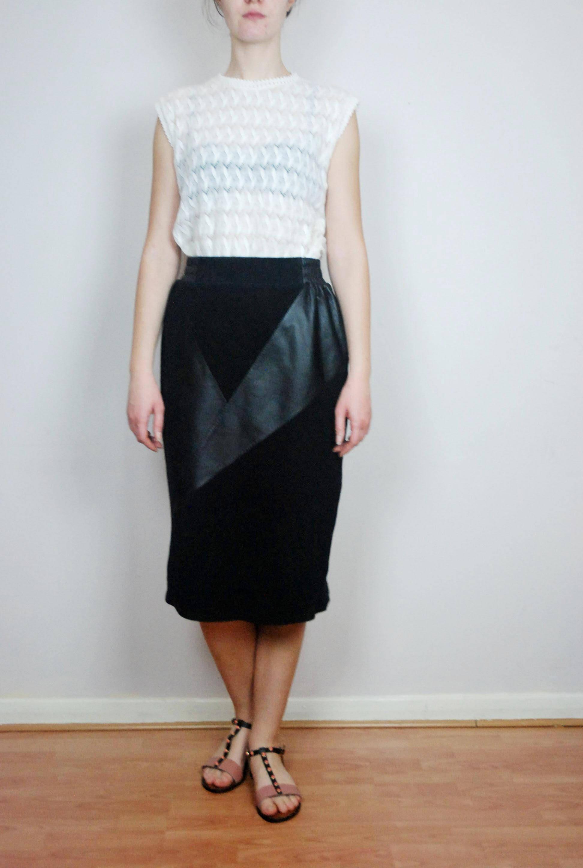 d1eb4bacb8 Vintage YSL Saint Laurent black suede & leather skirt S M | Etsy