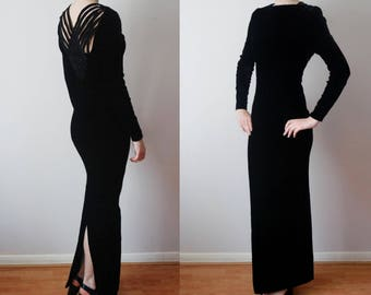 vintage NINA RICCI velvet maxi full length evening gown dress/lattice back //FR40