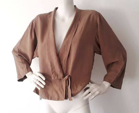 vintage KENZO Paris khaki silk kimono wrap shirt b