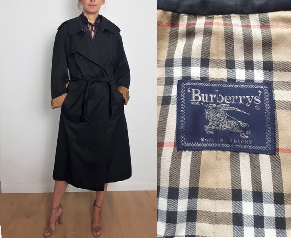 BURBERRY vintage black trench mac coat with belt L