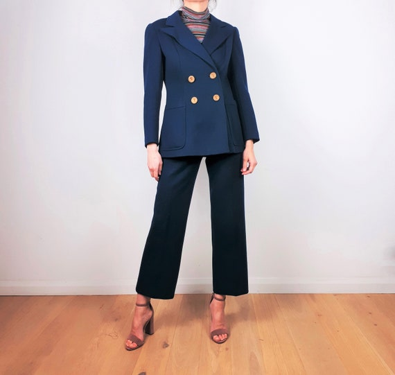 vintage 60s 70s Teal Wool Two Piece Trouser Pant … - image 1