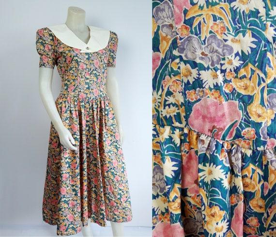 vintage 80s 90s Praire floral print ditsy dress