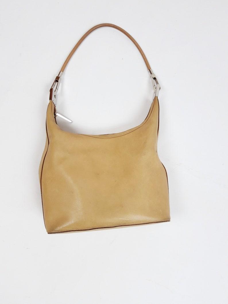 Vintage GUCCI light beige tan leather hobo shoulder bag 01234  2ba453f58ef5a