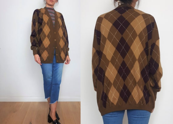 vintage ESCADA 80s 90s Argyle knitted wool cardiga