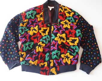 vtg 80s 90s graphic polka dot quilted bomber jacket