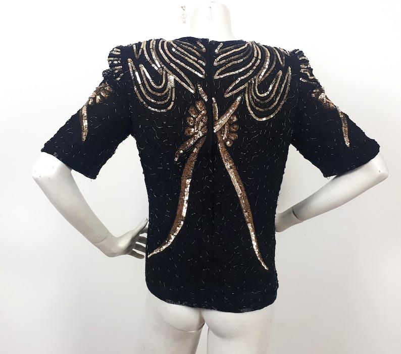 vtg Frank Usher black silk sequin top blouse