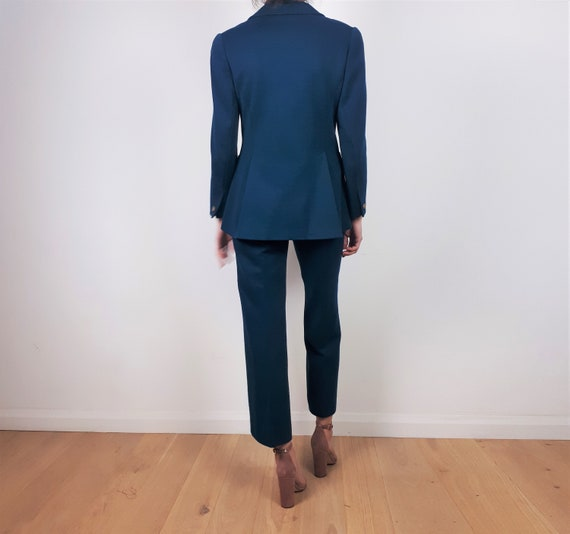 vintage 60s 70s Teal Wool Two Piece Trouser Pant … - image 10