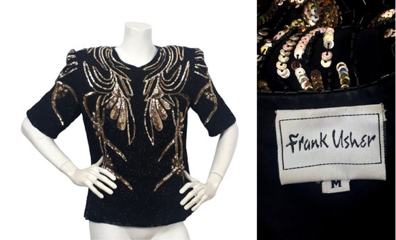 vtg Frank Usher black silk sequin top blouse