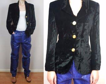 vintage VERSACE Jeans black velveteen blazer jacket IT42