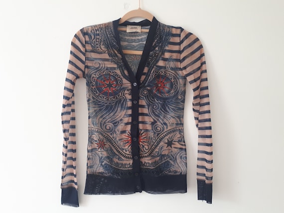 vintage Jean Paul GAULTIER sheer mesh printed top