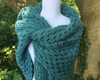 Soft, warm triangle healing shawl / wrap in sea-green wool with silk, and with extra long 'wings', making easier to shape