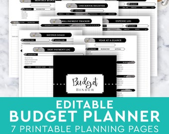 monthly budget planner page home family finance tracker etsy