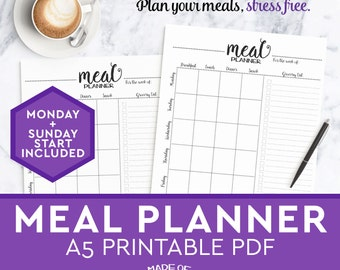 Weekly Planner Schedule Printable A5 Hourly Schedule Bonus Etsy