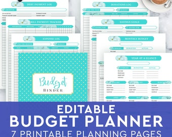 budget planner printable monthly household budget form etsy