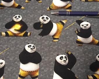 Elastic cottonsweat Kung Fu Panda gray background licensed fabric