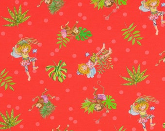 Jersey fabric - Princess Lillifee - with red background licensed fabric