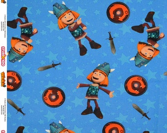 Canvas Wickie the Viking Licensed Fabric Blue Background