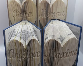 Pack of 4 books folded heart personalized name