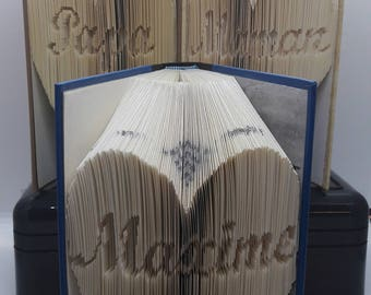 Pack of 3 books folded heart personalized name