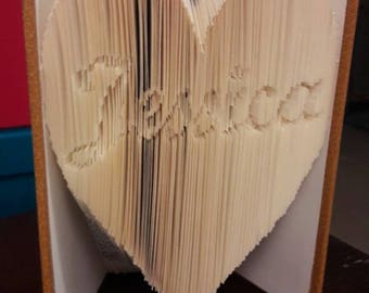 """Book Style """"Cut & Fold"""" folded heart personalized name"""