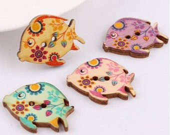 Wooden Tropical Fish Buttons 25 x 30mms x 50
