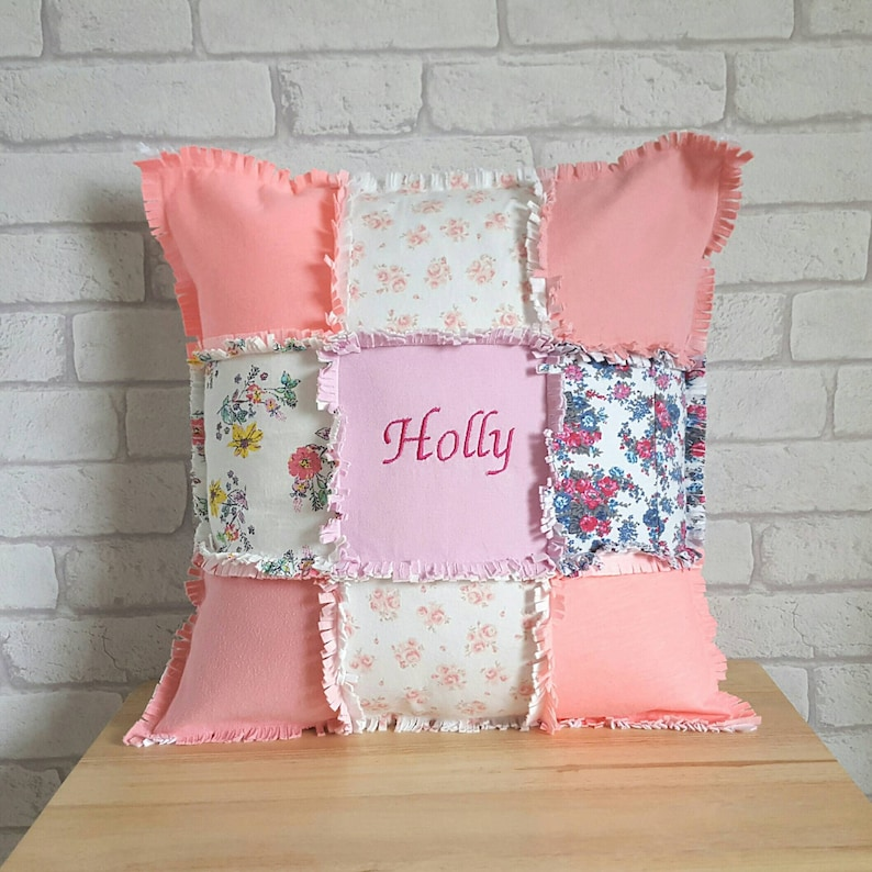 2d774c4306e8 Personalised Keepsake Cushion made from Baby ClothesPatchwork