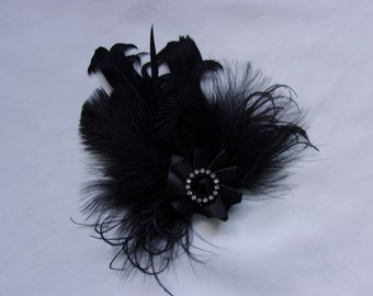 47857f9b5a1 Black Feather Brooch Mixed Feather Ruffle with Pearls Crystal Corsage  Buttonhole Boutonniere Hairclip Gothic Goth Victorian Wedding