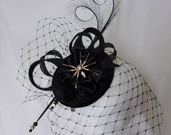 Black Gothic Fascinator with Birdcage Veil Pheasant Curl Feathers Sinamay & Gold Spider Brooch Halloween Wedding Mini Hat - Made to Order