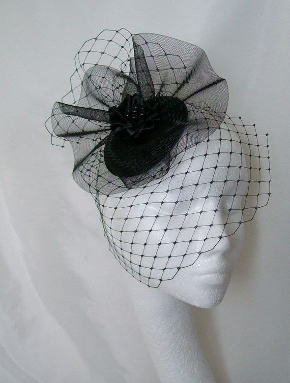 e7b9a0707c5 Black Vintage Fascinator Merry Widow Blusher Veil and