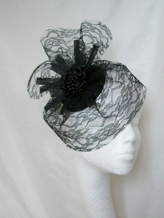 83757f4a4c4 Black Gothic Fascinator Dramatic Lace Veil and Sinamay