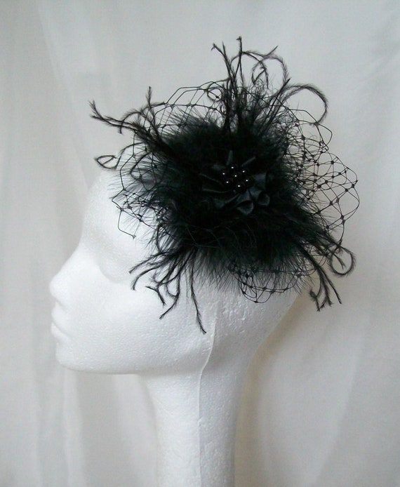 1e549973b6e Black Vintage Fascinator with Fluff Feathers Veiling   Pearls