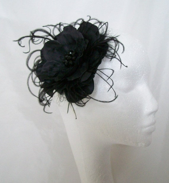 ff5cf92fc31 Black Flower Clip Rose and Ostrich Feather Gothic Style