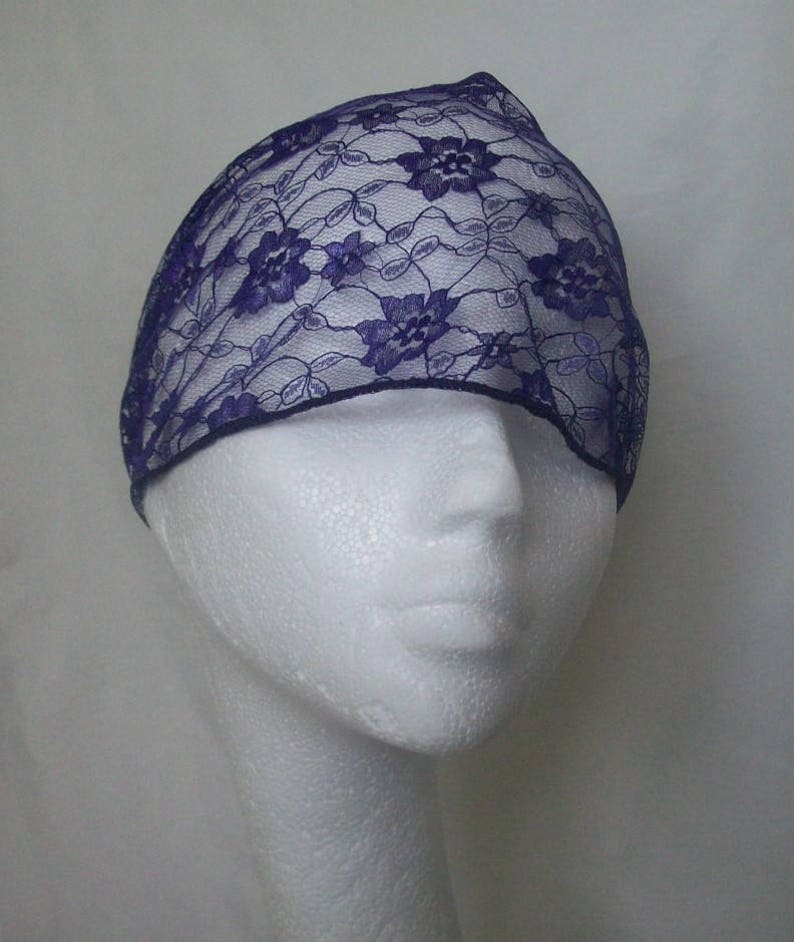 Goth Bride Wedding Purple Birdcage Veil Gothic Russian Vintage Waffle Weave and Lace Blusher Bandeau Veils
