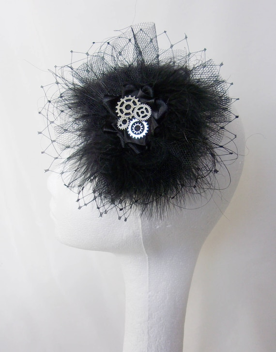 faf429490f3 Black Steampunk Fascinator with Brass or Silver Cogs Fluff