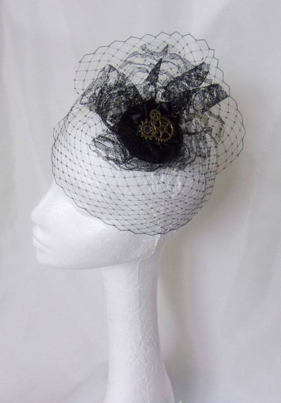c14c7994084 Black Steampunk Fascinator Victorian Gothic Style Mini Veiled