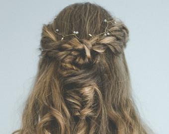 Gold hairvine bridal headband pearls