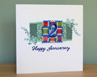 Cotton card etsy handmade greeting card 2nd wedding anniversary card cotton anniversary for 2 years of wedded bliss m4hsunfo