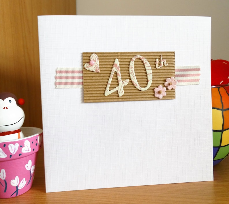 Handmade Greeting Cards A 40th Birthday Card In Pink Or Blue